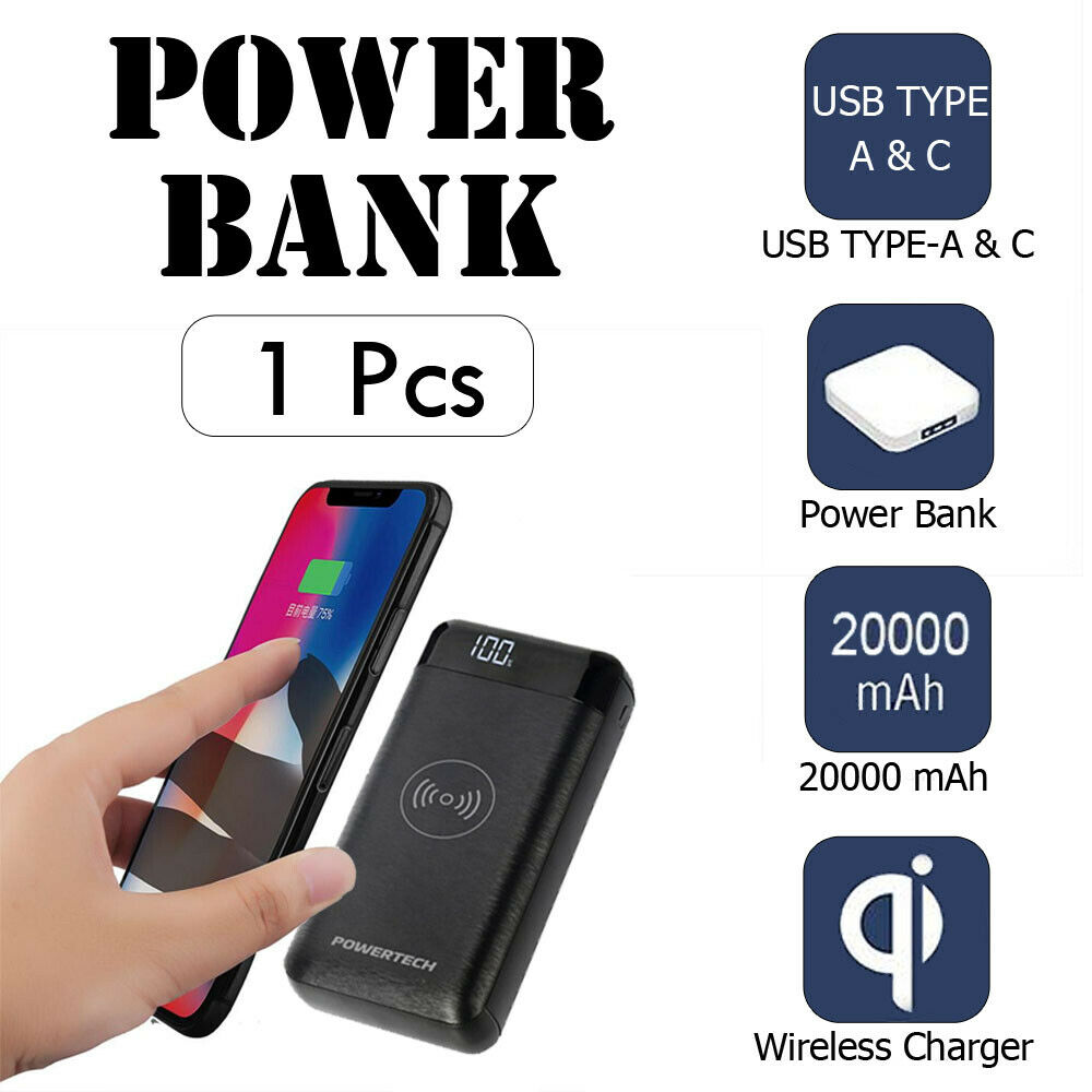 1pcs 20,000mAh Power Bank with 2 x USB and Wireless Charger - Black