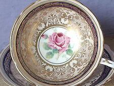 Vintage 1950's Paragon England pink rose blue gold bone china tea cup teacup