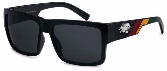 Locs Sunglasses New Black with Rasta Colors Rectangular OG w/super dark lens