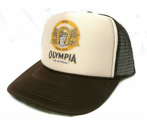 e9e05ff64855d Vintage Olympia Beer Trucker Hat Mesh Hat Snap Back Hat  NEW  Tan ...