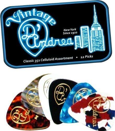 D/'ANDREA 351 VINTAGE CLASSIC CELLULOID Guitar Picks .71MM Medium 12 pick in Tin