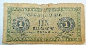Belgium-1-Franc-1946-G-VG-Condition-Banknote-KM-M1-Armee-Belgische-Leger