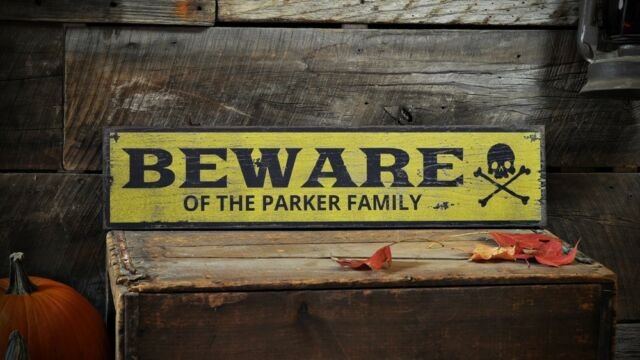 Custom Family Beware Skull Sign - Rustic Hand Made Halloween Wooden ENS1001469