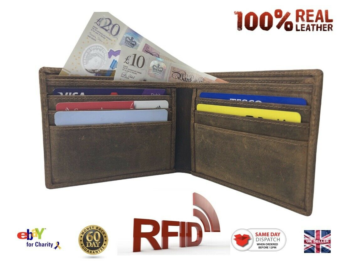 Men's Leather Wallet Bifold RFID Security Classic Retro Design unisex UK STOCK