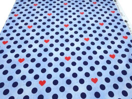 Stoff Baumwolle Jersey Punkte Herzen jeansblau marine blau rot Kleiderstoff