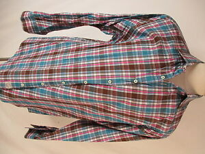 Peter Millar Mens Blue Pink Plaid Long Sleeve Cotton Shirt XL