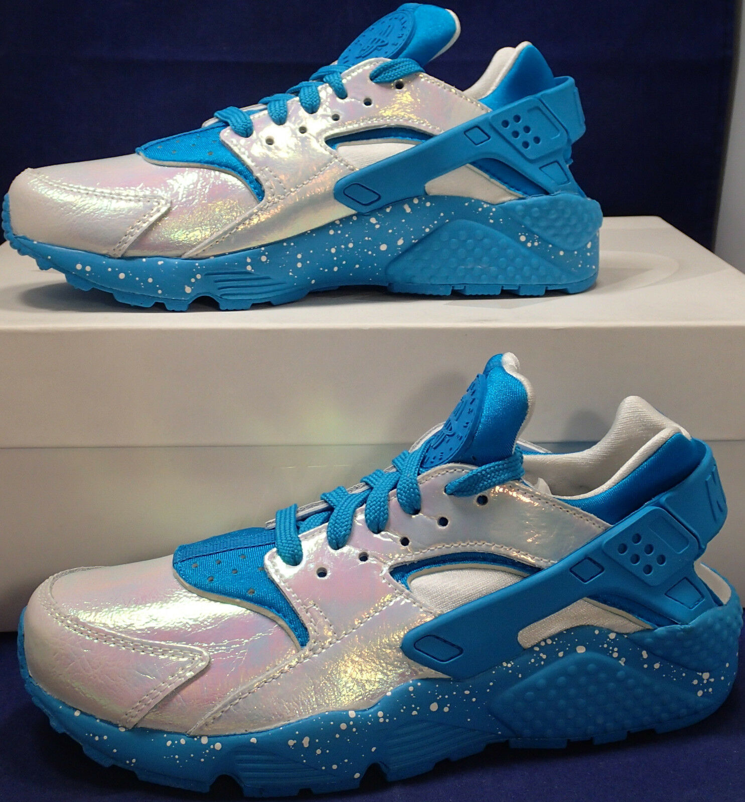 Womens Nike Air Huarache Run iD Iridescent Chlorine bluee SZ 6 ( 871141-991 )