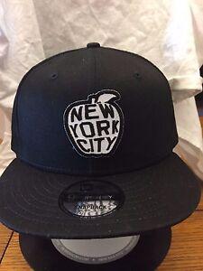 ddc3e86d5be New Era NE400 Black Flat Brim Snapback Hat Cap w New York City Big ...