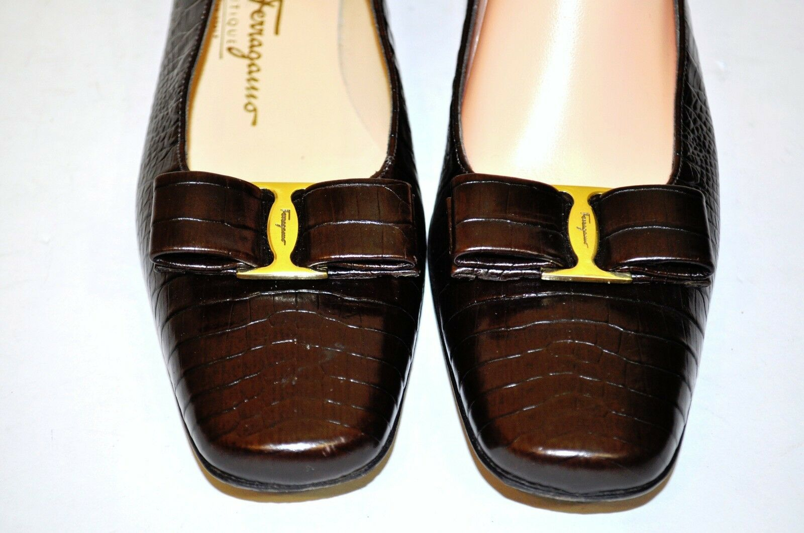Salvatore Ferragamo Vara Bow Brown shoes Croc Leather 1