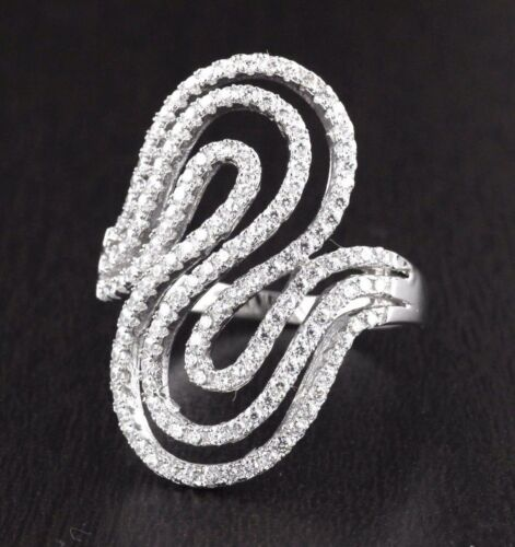 Womens Solid 925 Sterling Silver CZ Micro Pave Ring  28mm Wide
