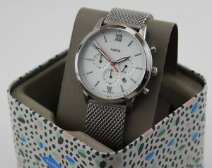 d6d7734559d8 Image is loading NEW-AUTHENTIC-FOSSIL-NEUTRA-CHRONOGRAPH-MESH-SILVER-WHITE-