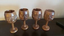 Vintage Monkey Pod Handcarved Wooden Wine Glasses Hawaii 1970's