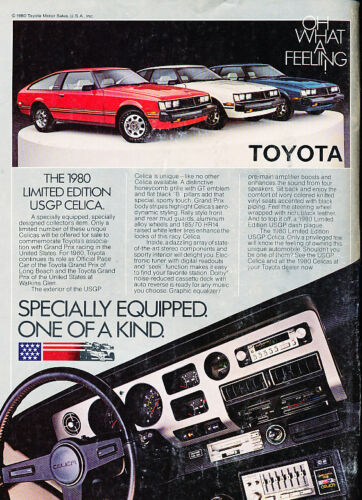 1980 Toyota Celica Supra USGP Race Classic Vintage Advertisement Ad D29