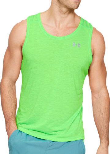 Under Armour Streaker 2.0 Mens Running Singlet Green Race Vest Training Tank Top