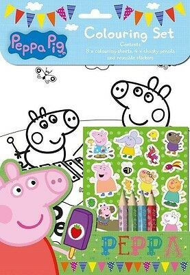Peppa Pig Colouring Set / Birthday Party Loot Stickers