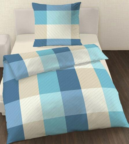 Bettwäsche 135x200 cm Karo blau natur 101673 Baumwolle