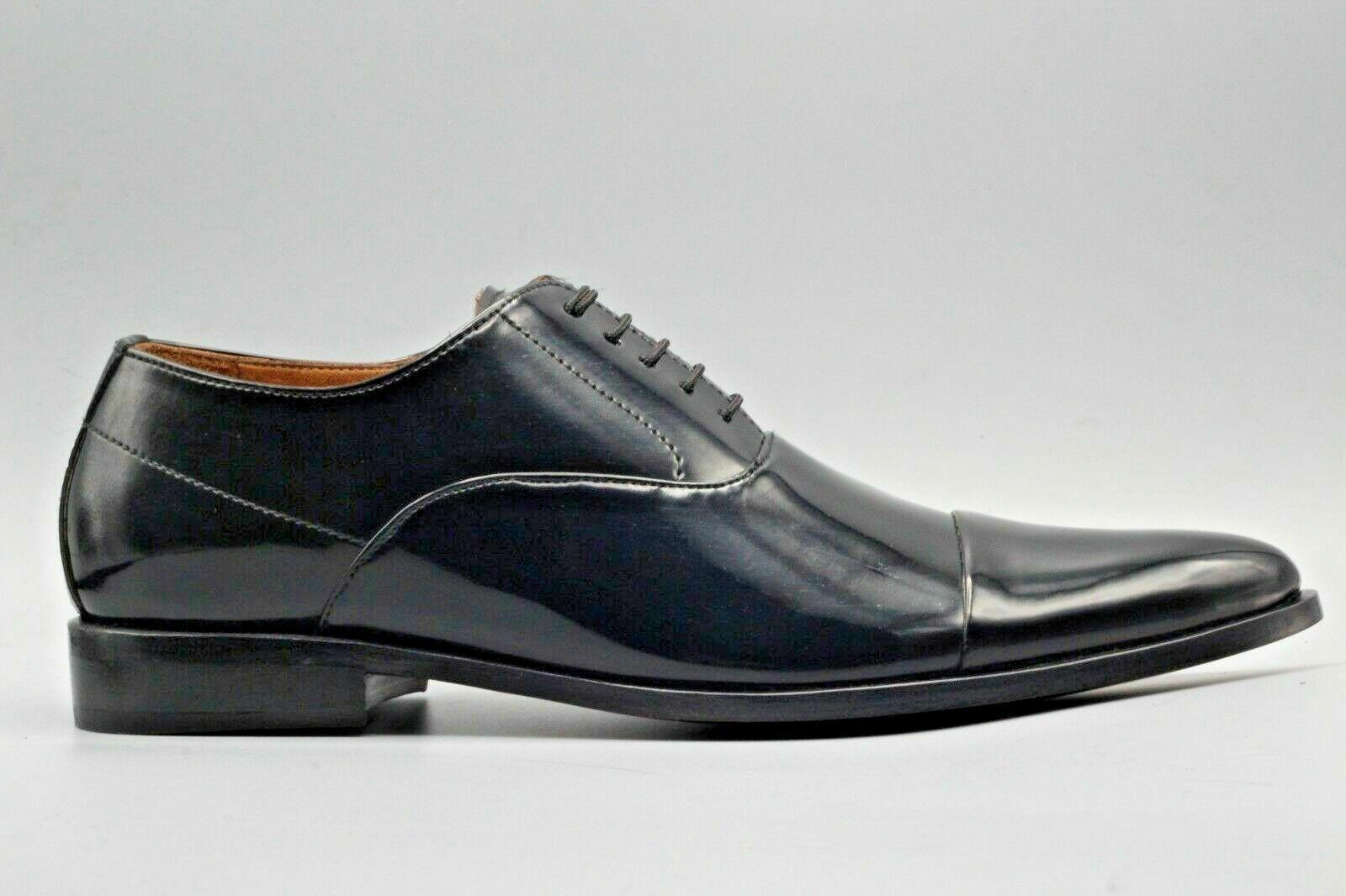 Hecho a mano para hombres Genuino Charol Negro puntera Oxford Zapatos Con Cordones