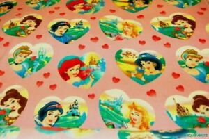 1-6Yds-Disney-Princesses-in-Hearts-on-Pink-Polar-Fleece-Fabric-FREE-SHIP