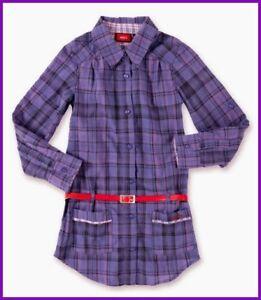 Expressif Neuf Mexx Blouses Robe Chemisier Tunique Robe Violet Carreaux Manches Longues Ceinture 122 (116 128)-afficher Le Titre D'origine