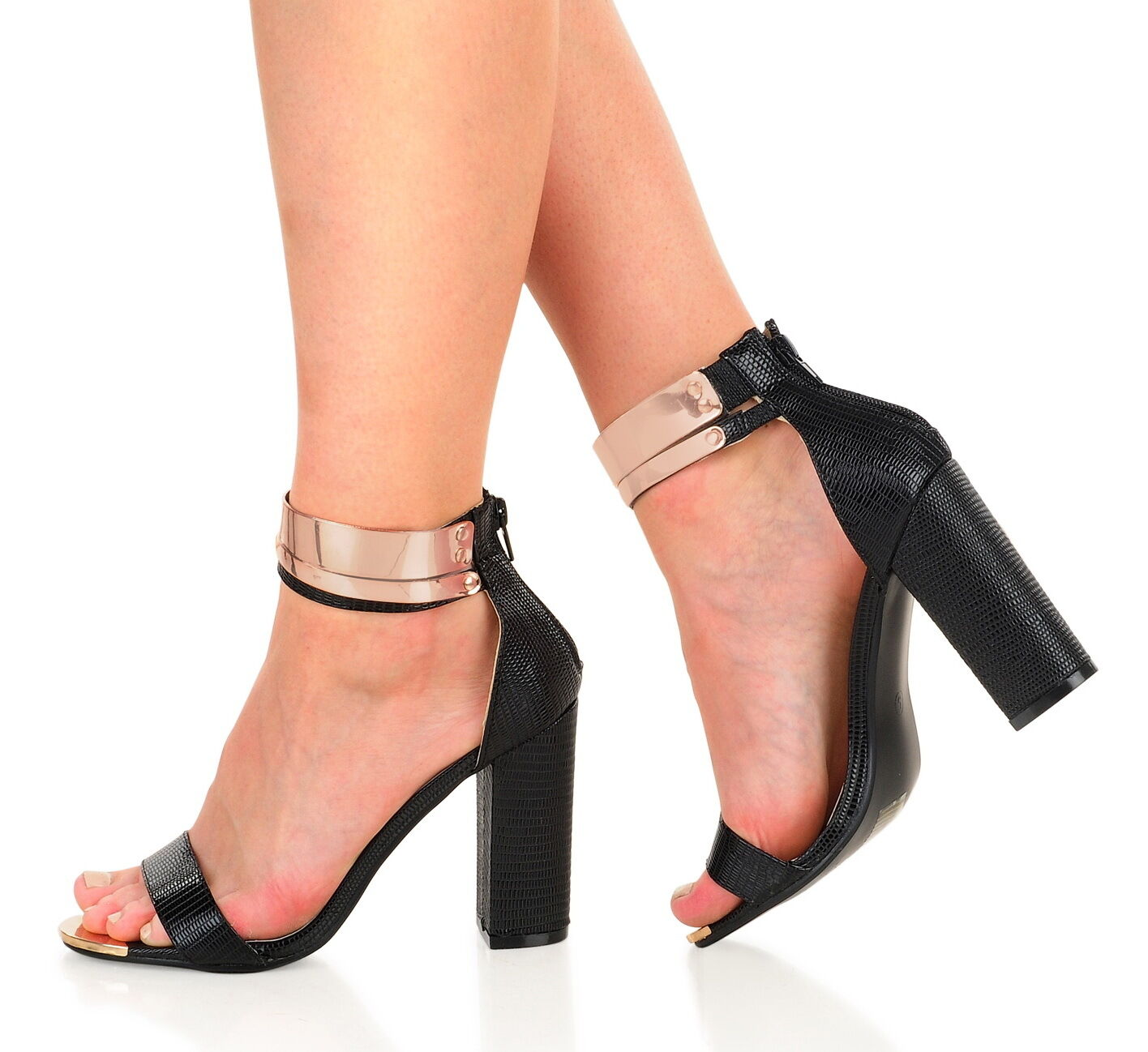 Black Black Black Lizard Block High Heel Open Toe Shoes Sandals - US 7.5/UK5/ EU38 be7963