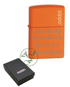 Zippo-Lighter-Orange-Matte-with-Logo-Personalised-Engraved-Free