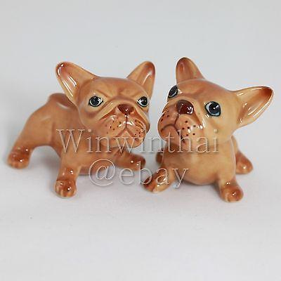 2 Brown French Bulldog Puppy Set Ceramic Pottery Animal Miniature Figurine 2 Ebay