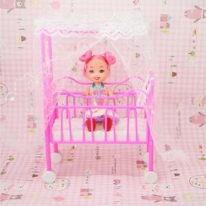 Plastic-Baby-Bed-Miniature-Dollhouse-Toy-Bedroom-Furniture-For-Dolls-New