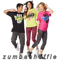 Zumba Fitness Get Funked Up Tee Black Green Pink T-shirt -