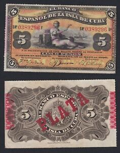 El Banco Espanol De La Isla De C Uba - 5 Pesos 1896 Sup/au A-01