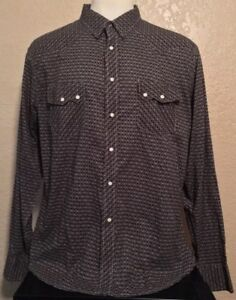 cb25babf95f Details about New Cinch Men s XL Slim Fit Black Geometric Pearl Snap Long  Sleeve Western Shirt
