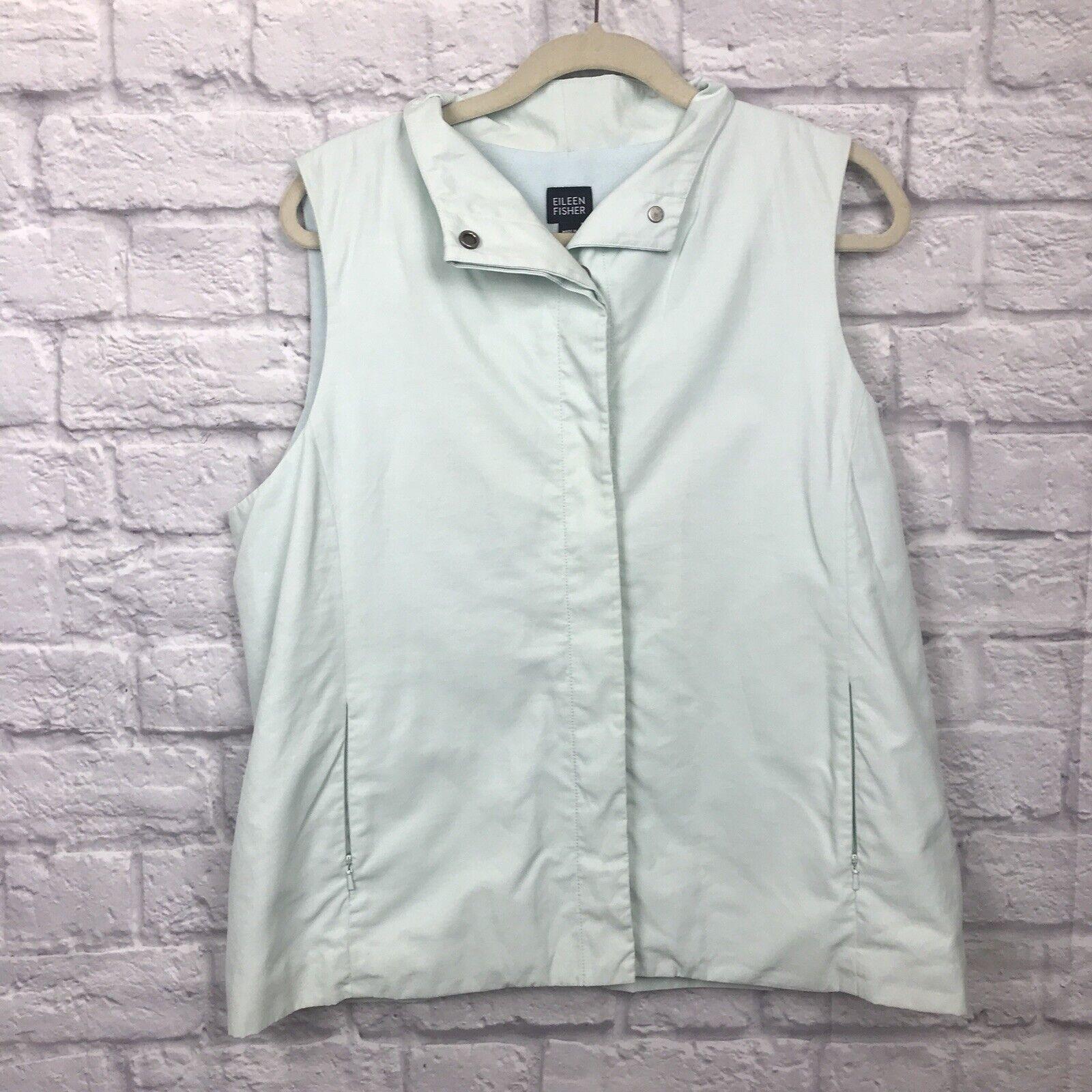 Eileen Fisher Fleece Lined Vest Hidden Button Sz L Mint Green 177.169