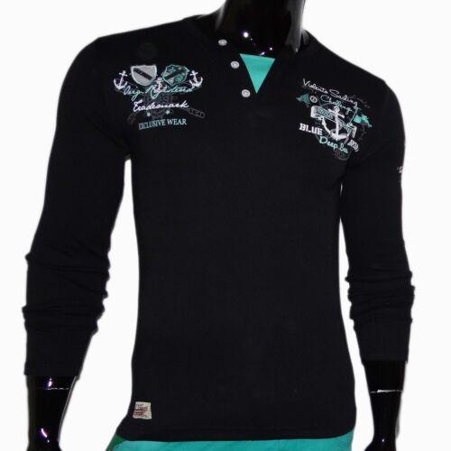 Neu Top T-Shirts Shirt Herren Long Oberteil Pulli Langarm Clubwear T-Shirt