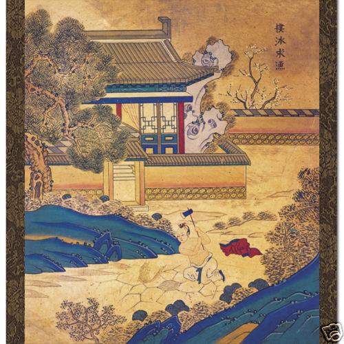 Peinture Tenture Asie Poster Tableau Scène Folklorique Minhwa LEGENDE COREE