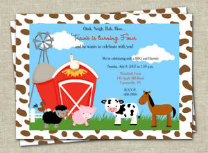Barnyard Birthday Party Invitation Farm Animals Kids Birthday Party