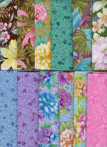Melody Floral Pink Blue Purple Brown Quilt Kit Hawaiian Fabric Fat Quarter Lot