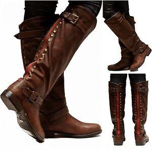New Womens JM18 Brown Red Zipper Studded Riding Knee High Boots ...