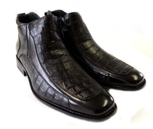 MENS LEATHER ANKLE BOOTS ZIPPERED COMFORT STRETCH FIT OSTRICH CROCODILE PRINT