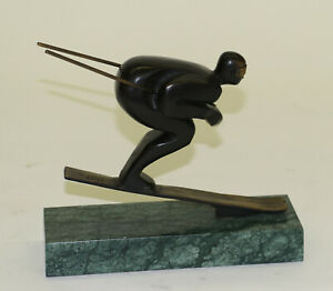 Art-Deco-Handcrafted-by-Lost-Wax-Male-Classic-Ski-Trophy-Bronze-Sculpture-Statue