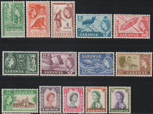 SARAWAK-1955-7-QE-II-PICTORIAL-TO-2-FRESH-MH-CAT-RM-279