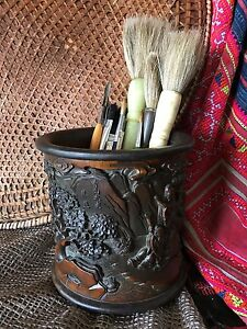 Antiques Old Chinese Carved Bamboo Bitong Other Asian Antiques Scholar Brush Pot …wonderful Aged Patina