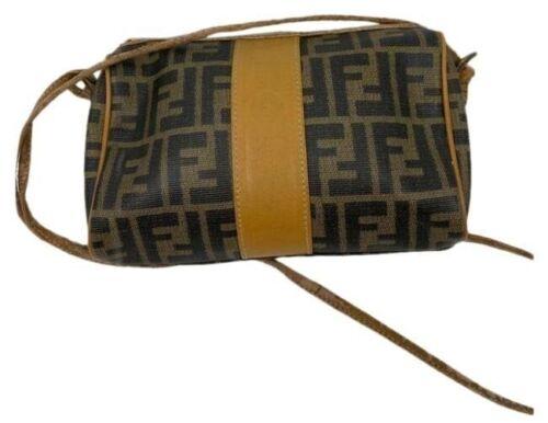 FENDI Vintage All Over Logo Black Tan Crossbody Ba