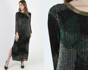 Vtg-70s-Black-Beaded-Silk-Dress-Floral-Metallic-Cocktail-Party-Evening-Long-Maxi