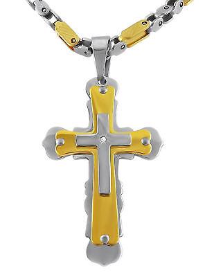 Edelstahl Herren Halskette Gold Silber Kreuz Jesus Mann Geschenk zu Weihnachten