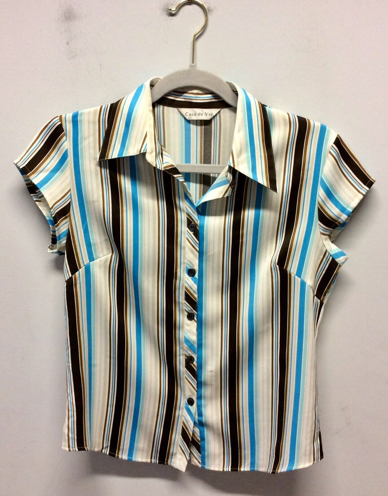 1970s Blue, White And Brown Striped Shirt UK 10