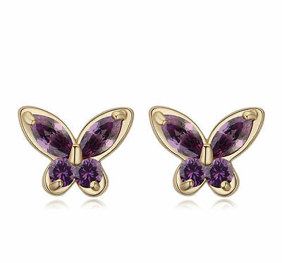Purple Violet Butterflies Stud Earrings with Zirconia Gold Plated