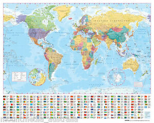 World map poster 40x50cm educational travel school chart new image is loading world map poster 40x50cm educational travel school chart gumiabroncs Gallery