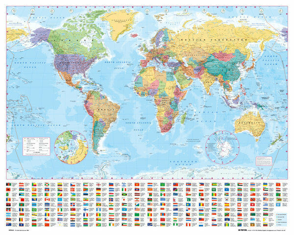 WORLD MAP POSTER (40x50cm) EDUCATIONAL TRAVEL SCHOOL CHART NEW LICENSED ART