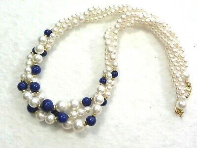 Colorful Three Strand Necklace With Golden Spacers