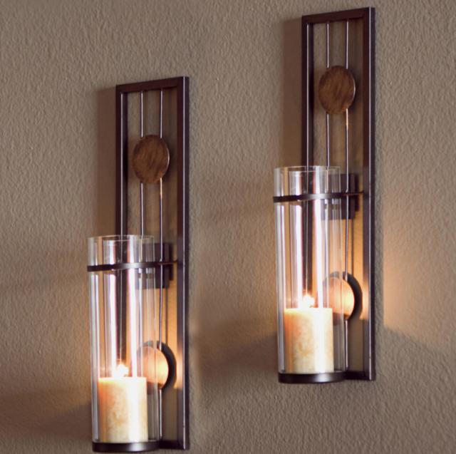 Wall Sconce Candle Holder Modern Indoor Hurricane Lamp Metal Decor Pillar Set 2