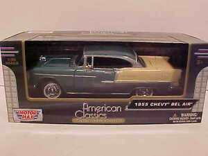 1955-Chevy-Bel-Air-Hard-Top-Coupe-Die-cast-Car-1-24-Motormax-8-inch-Green-w-Tan